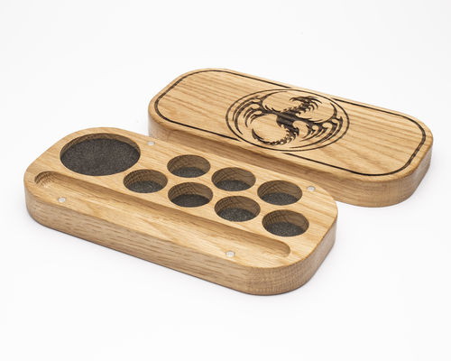Dragon Design Solid Oak Dice Box, with Miniature Storage and Pencil Holder