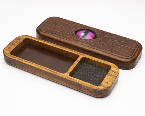 Dragon Eye Solid Oak and Leather Dice Box - Pink