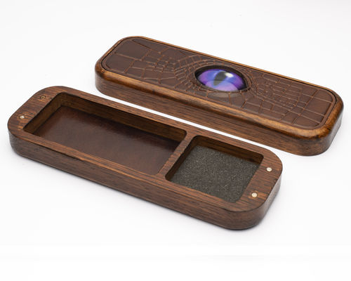 Dragon Eye Solid Oak and Leather Dice Box - Purple