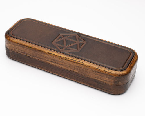 D20 Design Embossed Leather Dice Box